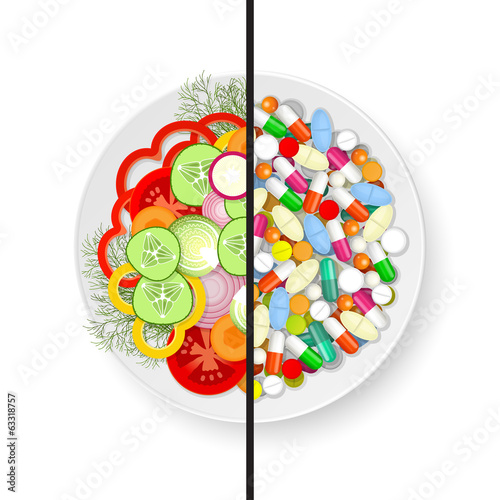 Plate with vegetables and plate with pills