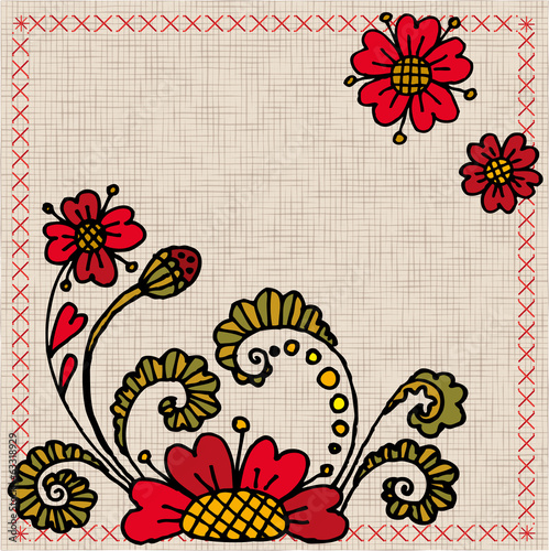 Ukrainian embroidery with flowers
