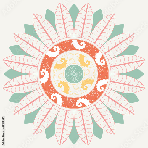 Tropical Mandala in pastel colors