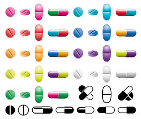 vector collection of pills, capsules and black and white symbols