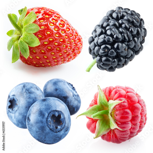 Berries - raspberry, strawberry, blueberry, mulberry. Collection