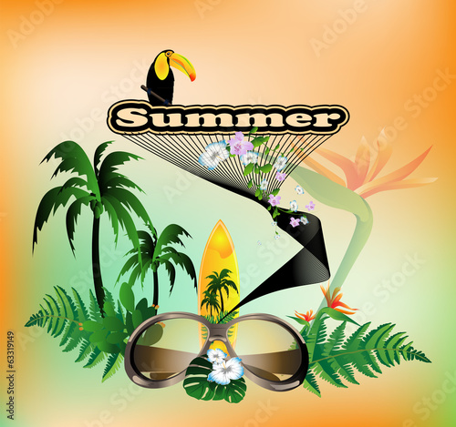 Summer, toucan with palm, sunglasses and flowers