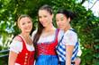 Biergarten - Freunde mit Trachten in Bayern