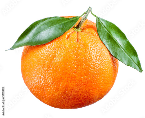 Orange fruit with leaves isolated on white