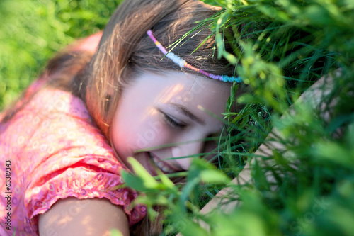 hippy girl child smile joy lie spring summer grass