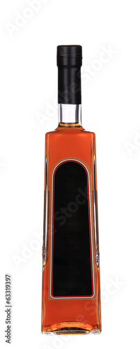 Cognac bottle on white background.
