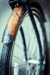 Closeup of a rusted bicycle wheel