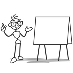 Stick man, blank white board, explaining, pointing