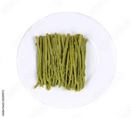 Canned asparagus on plate.