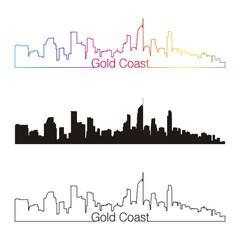 Gold Coast skyline linear style with rainbow