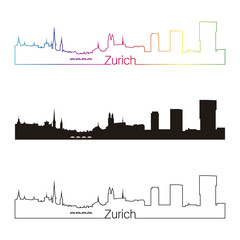 Zurich skyline linear style with rainbow