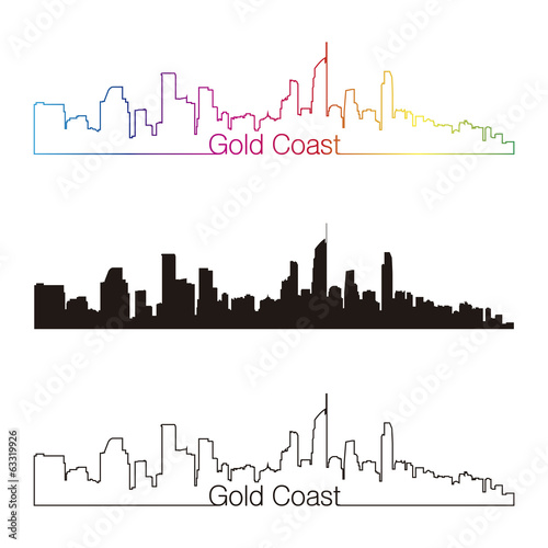 Gold Coast skyline linear style with rainbow