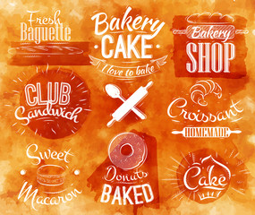 Bakery characters in retro style lettering donuts, croissants,