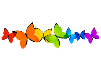 Rainbow butterflies border for Your design