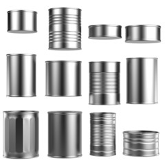 realistic 3d render of food cans