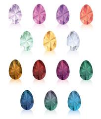 Set of crystal eggs.