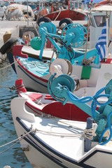 Colorful boats for fishing ,mediterranean sea, greece, europe