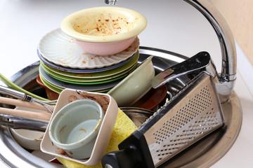 Kitchen utensils need wash close up