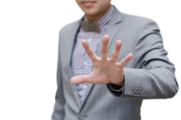 Businessman show stop hand sign