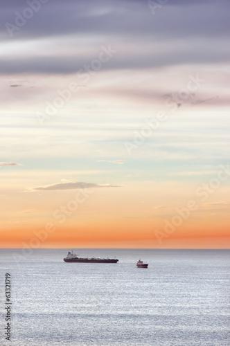 cargo ships in sea