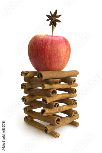 Tower with red apple cinnamon and star anise