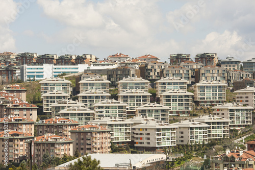 Urban view of housing development on hillside