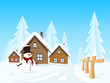 Vector picturesque village in winter landscape