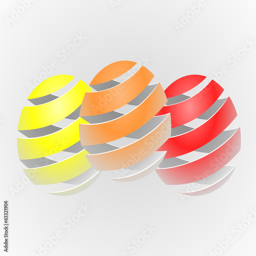 Misty colorful vector striped easter egg
