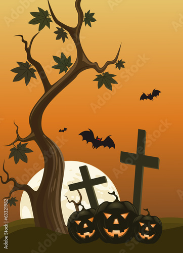 Halloween background with pumpkins and moon in the back