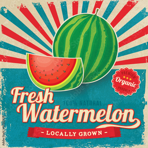 Colorful vintage Watermelon label poster vector illustration