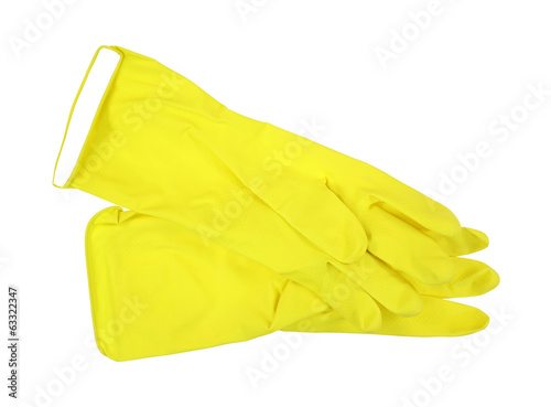 Yellow Latex Gloves Pair
