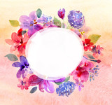 Fototapety Watercolor frame with flowers
