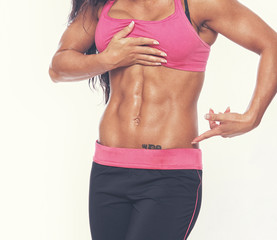 Close portrait of muscle woman body