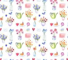 "Постер, картина, фотообои ""Watercolor flowers pattern"""