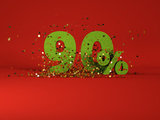 3d image of spring 90 % discount symbol on red background