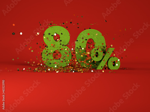 3d image of spring 80 % discount symbol on red background