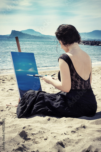 artist on the beach