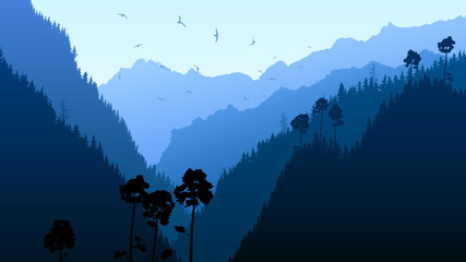 Illustration of twilight in mountain forest.