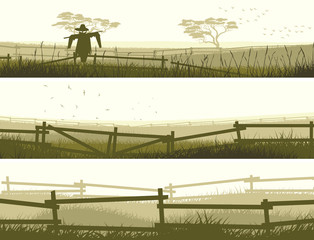 Horizontal vector banner farm fields with fence.
