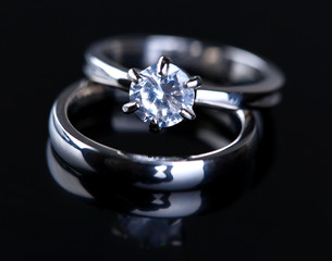 Two beautiful rings isolated on black