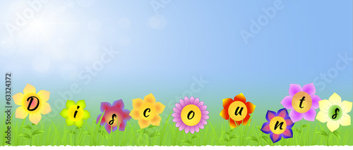 Banner with Discounts on the flowers