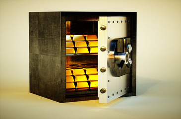 3d photo realistic vivid image of safe with golden bars