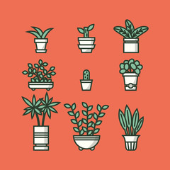 Set of houseplants in pots. Vector illustration.