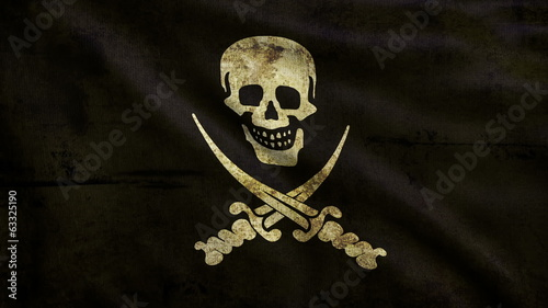 3d animation pirate flag looping