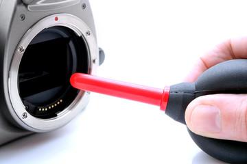 Kamerareinigung mit Blasebalg