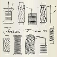Vintage hand drawn thread spools and needles