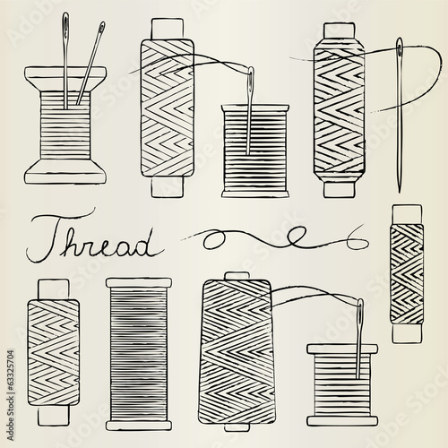 Vintage hand drawn thread spools and needles