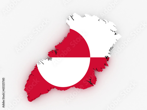 Greenland map with flag 3d