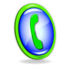 Icono azul y verde Teléfono