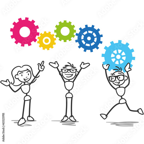 Stick figure cogs teamwork strategy